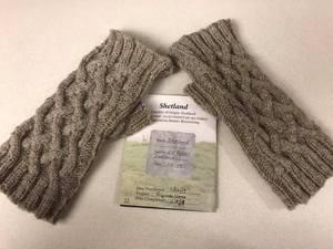 Fingerless gloves knitted from Shetland wool
