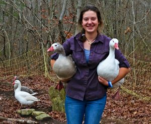 Bailey Hirschboeck holds Cotton Patch geese