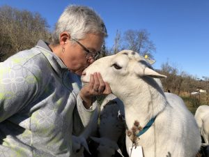 Crystal Criswell kisses a St. Croix sheep