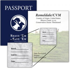 Shave 'Em to Save 'Em artist passport with page and sticker on page